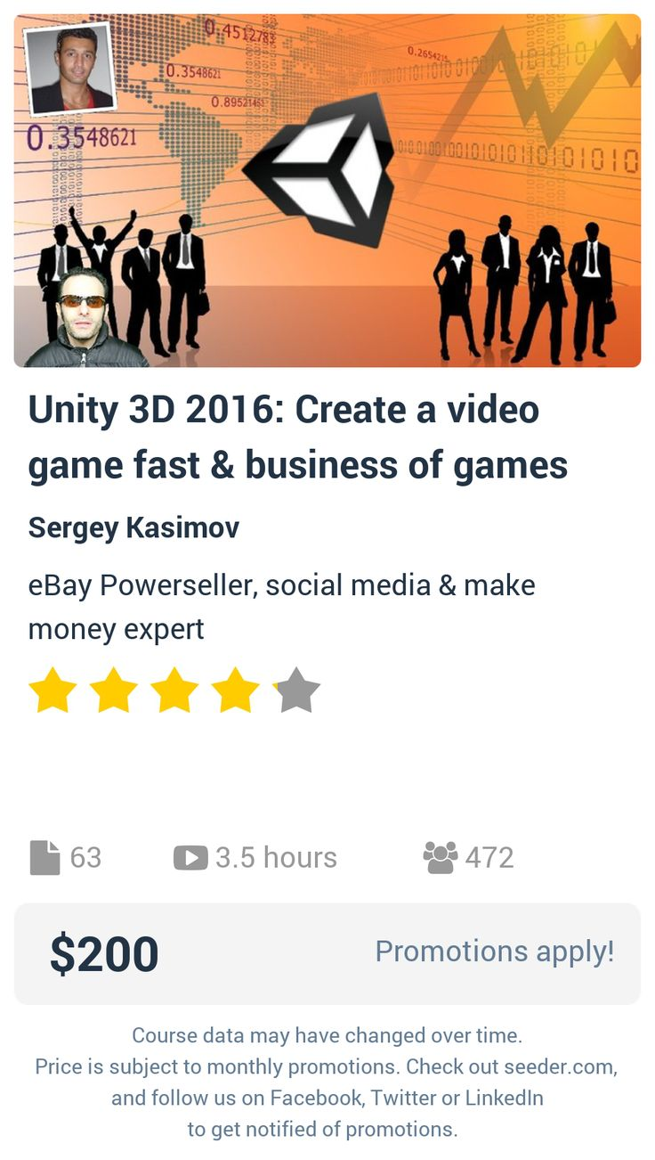 Unity 3D 2016: Create a video game fast & business of games | Seeder offers perhaps the most dense collection of high quality online courses on the Internet. Over 13,800 courses, monthly discounts up to 92% off, and every course comes with a 30-day money back guarantee.