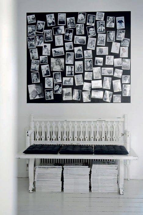 Une maison de campagne en noir et blanc. Gallery photo wall.