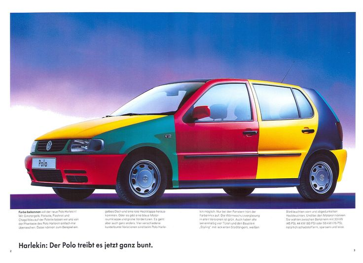 """VW Polo Harlekin - This """"unusual"""" edition features a multi-coloured body - typical #90s."""