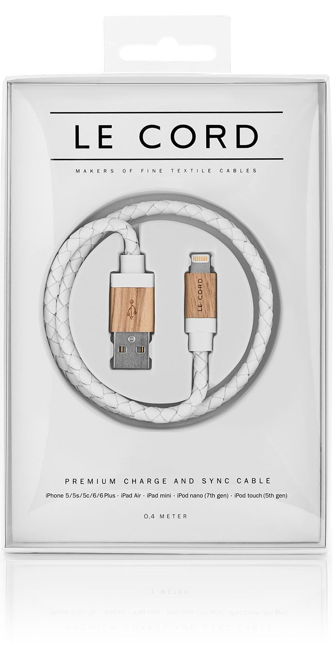 Le Cord WHITE LEATHER / LIGHT WOOD iPhone charge & sync cable wrapped in textile