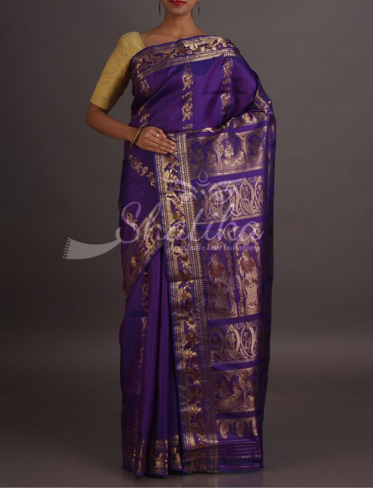 Roli Golden Epic Motifs On Plush Purple Baluchari Silk Saree