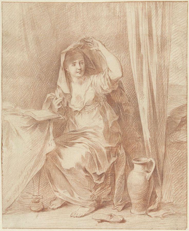 Willem Joseph Laquy | Vrouw zittend aan een tafel achter een boek, Willem Joseph Laquy, 1748 - 1798 | Een vrouw, zittend aan een tafel achter een boek, licht haar sluier op.