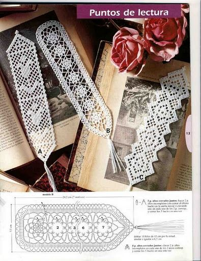 Marca páginas de ganchillo   -   Lot of crochet bookmark patterns