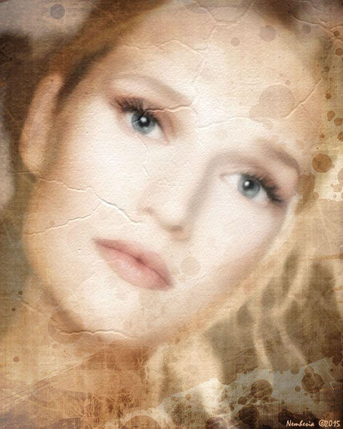 YESTERYEAR...digital work by Nemhesia. #nemhesia #digital #art #painting #effect #old #paper #woman #blonde #blue #eyes #beautiful #modern #art #girl #delicate #sweet #lips #pastel #colors #pale #skin #fairy #nymph #sensual #look