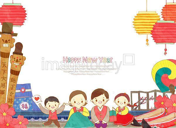 이미지투데이 일러스트 새해 신년 인사 한복 전통 한국 imagetoday illustration newyear greeting korea korean traditional costume tradition