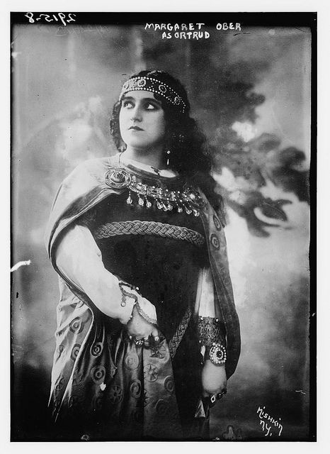 American opera singer Margarethe Arndt-Ober (1885-1971) as Ortrud in Richard Wagner's Lohengrin. Arndt-Ober performed with the Metropolitan Opera in New York City between 1913 and 1917.