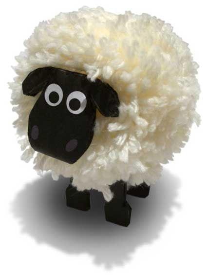 schaap van wol en karton