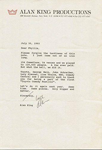 Alan King - Typed Letter Signed 07/30/1993
