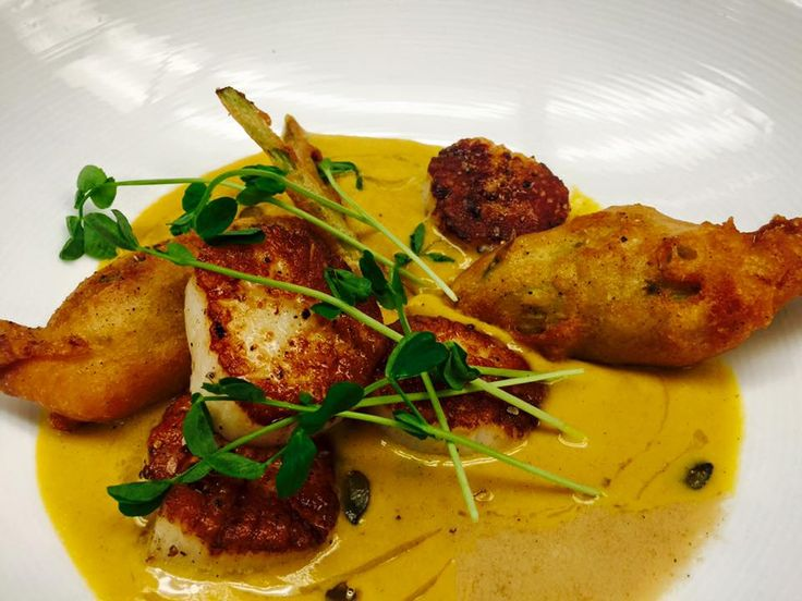 Seared Sea Scallops with Kabocha squash bisque, crab ...