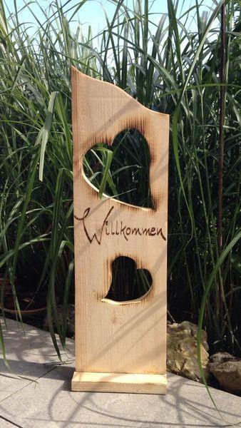 Deko-Objekte - Holzbrett Willkommen mit Herzen  - ein Designerstück von MichasBastelstube bei DaWanda