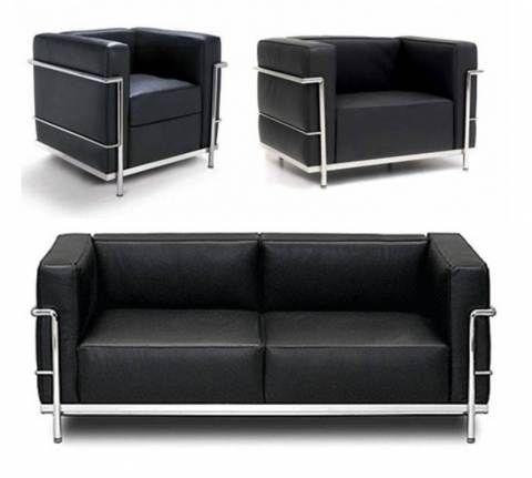 Mobiliário Moderno.  LC2 e LC3 de Le Corbusier. *Linhas simples, retas.  *Utilização de materiais como: cromo e aço; couro. *Estrutura Tubulares Metálicas. *Formas geométricas simples.