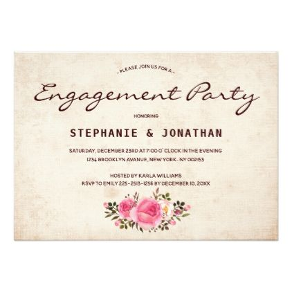 Rustic Country Floral engagement party card - wedding invitations cards custom invitation card design marriage party