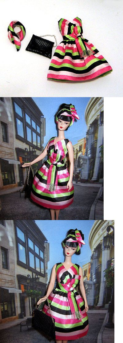 Custom Handmade Barbie Clothing: Barbie Silkstone Mulit Color Striped Dress, Hairband And Faux Leather Handbag New BUY IT NOW ONLY: $32.0
