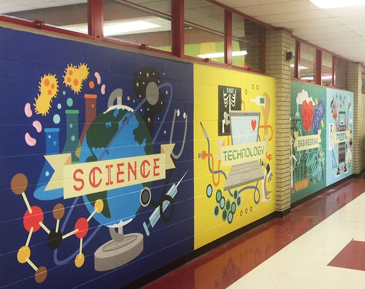 Large scale mural illustrations depicting students and children learning and using science, technology, engineering, and math.
