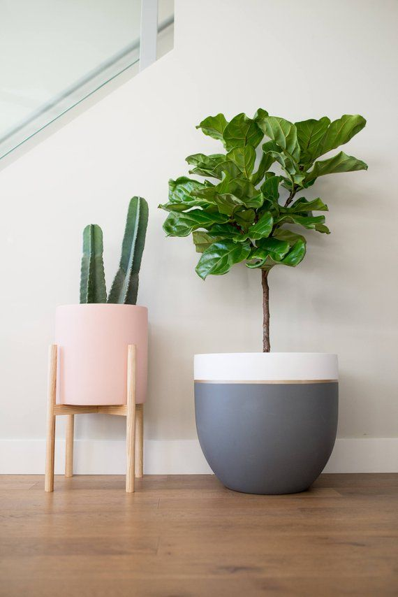 Grey White Gold Planter Pot Indoor Outdoor Modern Lightweight Hand Painted Planters Large Planter Minimalist Shape Plant Pot Planter Pots Indoor Gold