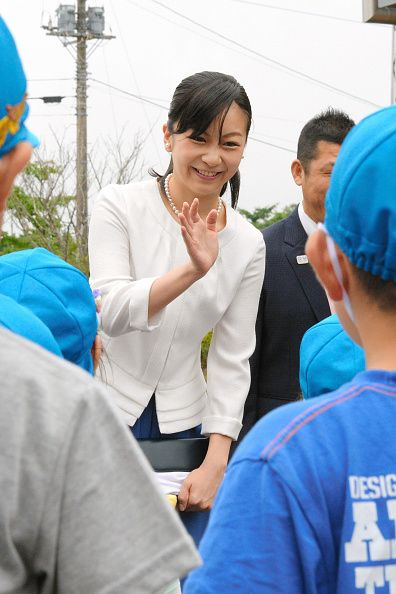 Princess Kako of Akishino waves to kindergarten children on arrival at the 51st All Japan High School Equestrian Championships at the Gotemba City Equestrian Sports Center on July 25, 2017 in Gotemba, Shizuoka, Japan.
