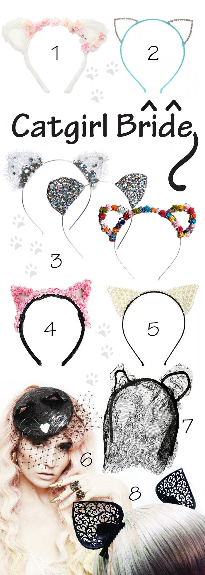 Ditch The Tiara For Cat Ears On Your Wedding Day - Check out the post for vendor links and prices.