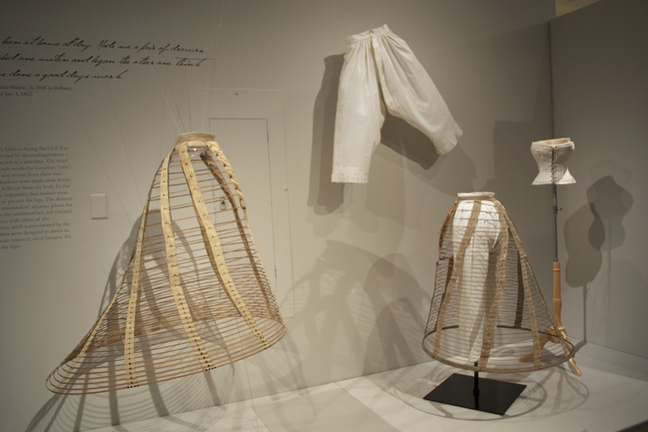"""Foundations. Undergarments from the 1860s on display in """"On the Home Front."""""""