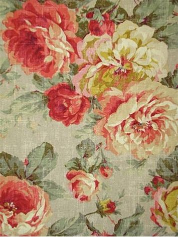 "Queen Bramble Floral 100% cotton duck, washed with weathered shabby chic look. Multi purpose home décor fabric for light use upholstery, slipcovers, drapery fabric, pillow covers, swags or top of the bed. Repeat; H 27"" x V 35"". 54"" wide"