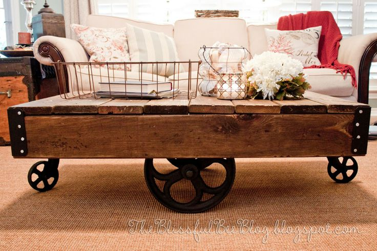 The Blissful Bee: Factory Cart Table DIY { Restoration Hardware Inspired }: Coffee Tables, Restoration Hardware, Furniture Makeover, Diy'S, Hardware Inspired, Cart Table