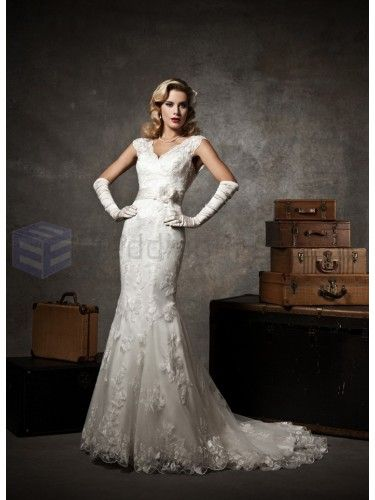 Chantilly Lace and Tulle Mermaid Cap Sleeve V-neck Neckline Wedding Dress