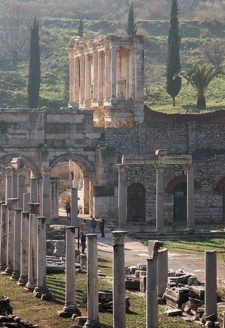 Ephesus, Turkey. The front of a once great library still stands.