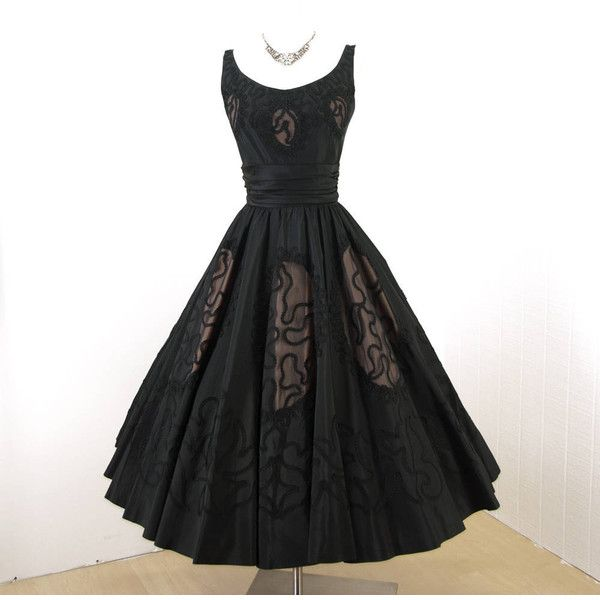 vintage 1950's dress exquisite MISS ELLIETTE inky black NUDE illusion... ($404) ❤ liked on Polyvore featuring dresses, embellished cocktail dress, special occasion dresses, circle skirts, cut out cocktail dresses and holiday cocktail dresses
