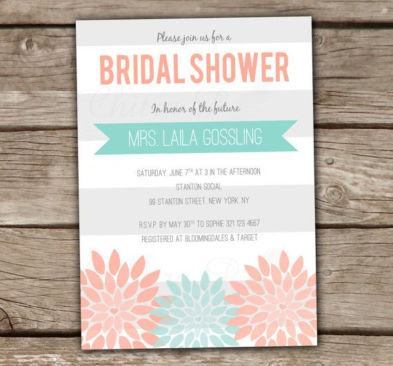 Modern Bridal Shower Invitation - Printed, Baby Shower, Engagement Party, Wedding, Couples Shower, Coral, Mint, Grey