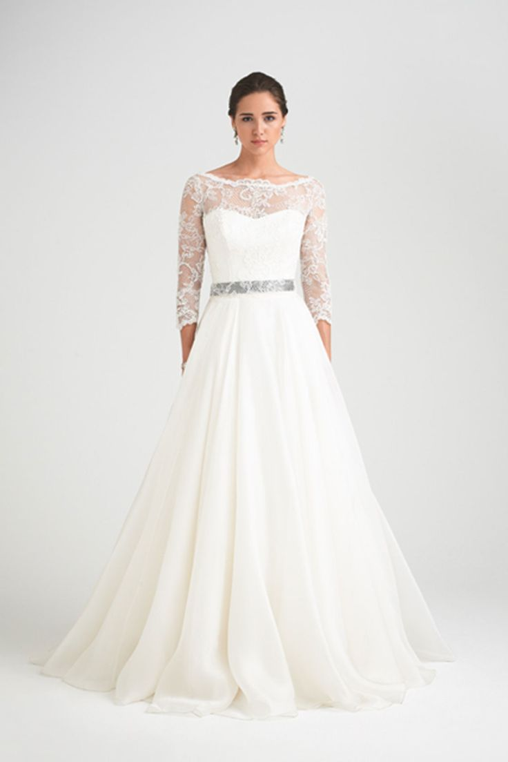 Caroline castigliano lace sleeve gown with silk organza skirt