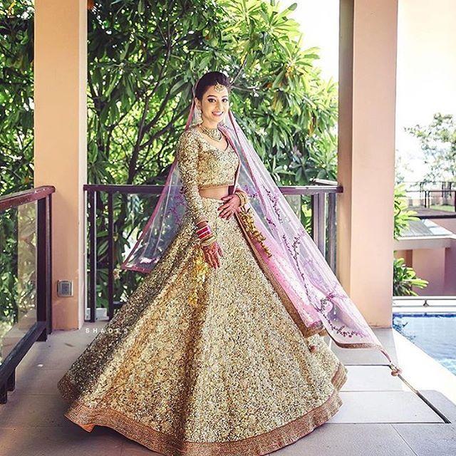 """11.3k Likes, 73 Comments - WedMeGood (@wedmegood) on Instagram: """"Gold and onion pink ! #lehenga #indianbride photo : @shadesphotographyindia #indianwedding…"""""""