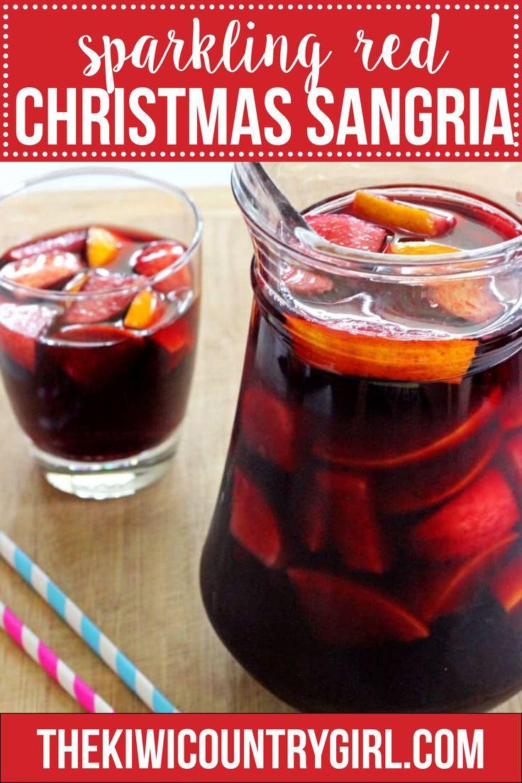 Sparkling Red Sangria Recipe Red Sangria Delicious Cocktails Christmas Sangria