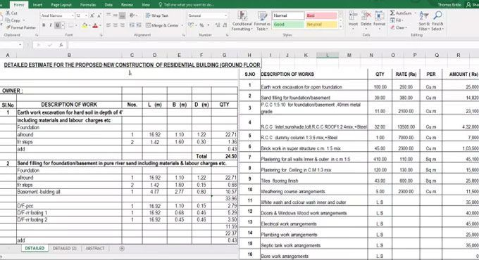 Download Spreadsheet To Estimate The New Construction Of Residential Building New Home Con Building Costs Construction Estimating Software Residential Building