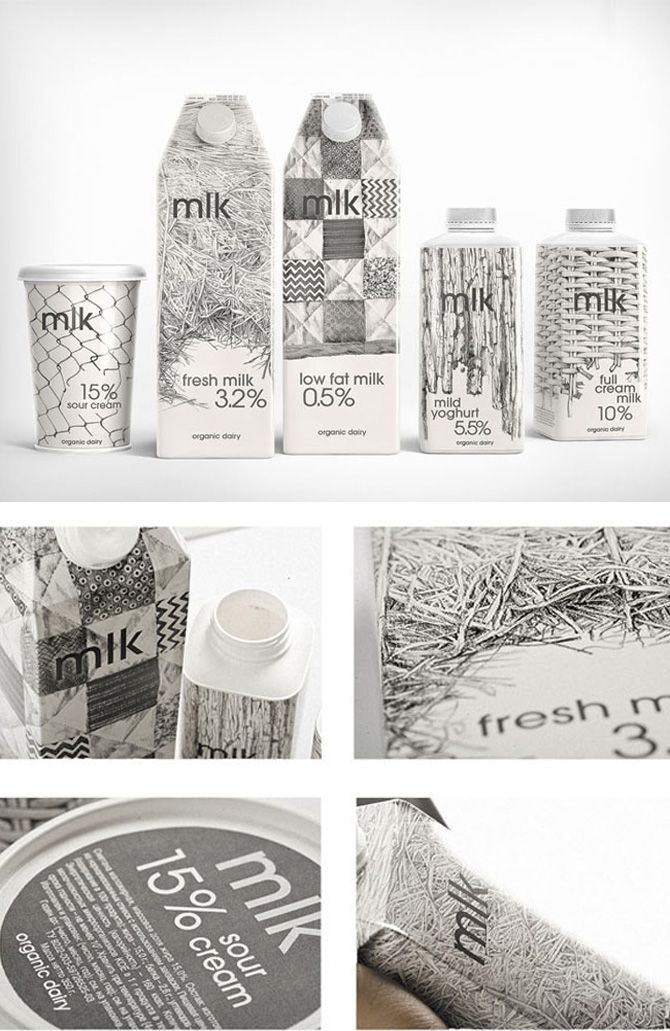 Illustrative milk packaging features things found around the dairy.