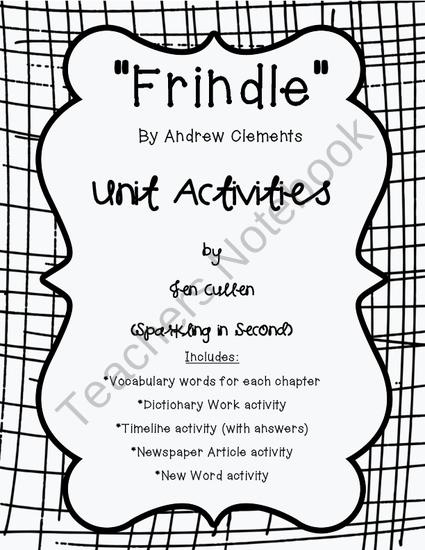 Frindle Unit Activities from Sparkling in Second on