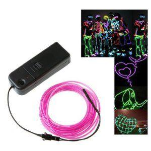TOOGOO(R) 3M Flexible Neon Light EL tube de cable metallique avec le controleur grande decoration pour la voiture, Fete, arbres de noel,…