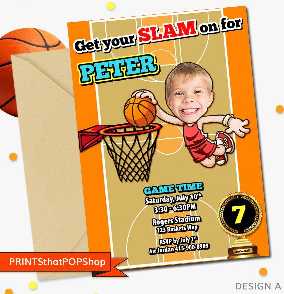 Basketball Invitation,Basketball Birthday Invitation,Custom Face Invites,Sports Birthday,Milestone Birthday,Hoops,Slam Dunk,Photo Invite