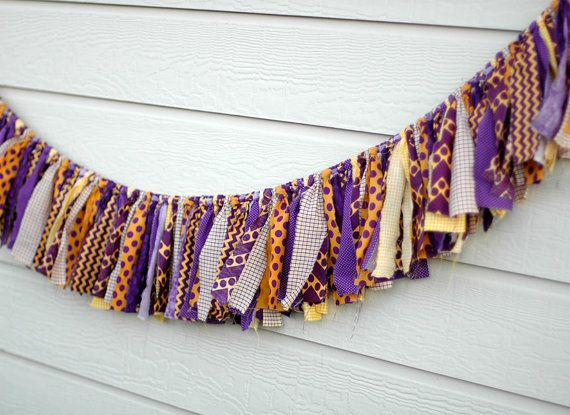 Purple and Gold LSU themed Shabby Torn Fabric Rag Garland ...