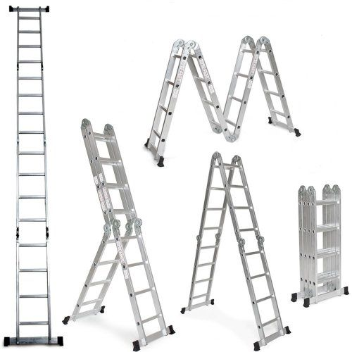 WORHAN® 5.7m Échelle Aluminium Multifonction Polyvalente Escabeau Échafaudage Multi-usage ALU Modulable Pliable KS5.7: Hauteur 5.7m…