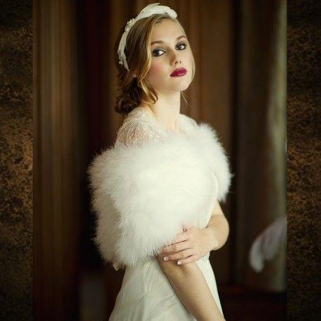 Châle étole Boléro Mariage - Plumes Marabout - Demoiselle d'Honneur -  Accessoires de la Mariée, Soirée, Cérémonie
