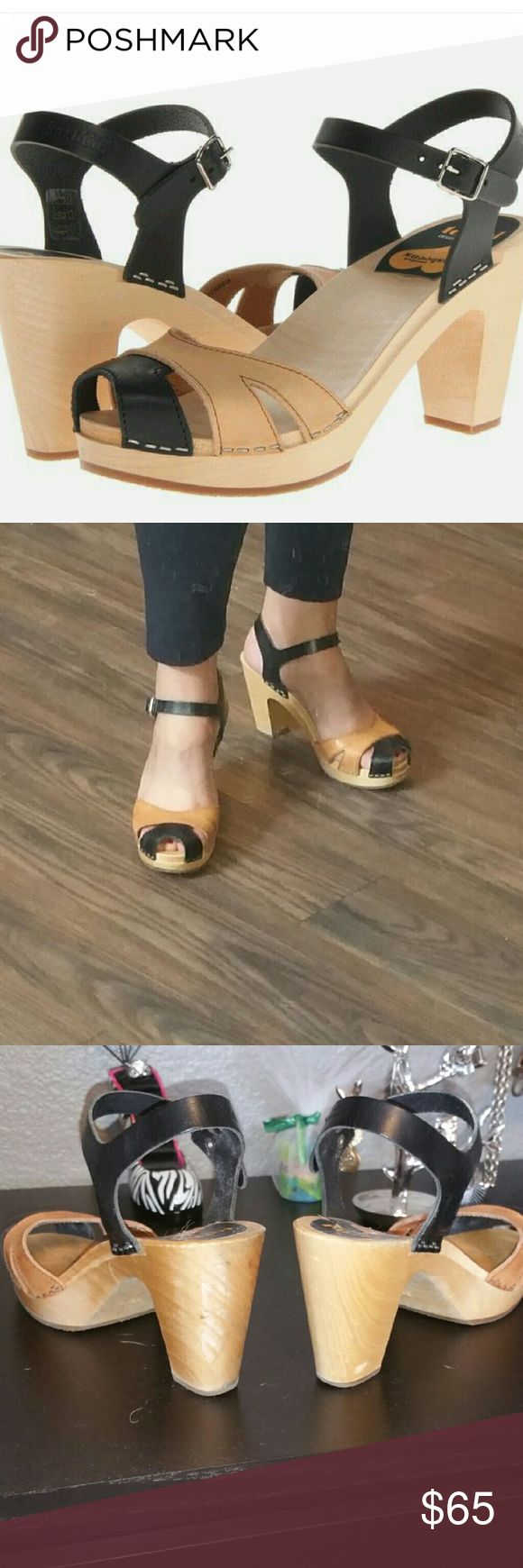 """Swedish Hasbeens Suzanne black and tan high heel Heel height 3 1/2"""", European size 38. Fits 7.5-8 Swedish Hasbeens Shoes Mules & Clogs"""