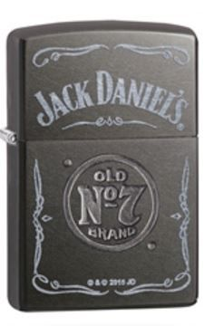 Stamping and laser engraving are used together to create an exciting Jack Daniel's® design featuring the company name and the Old No. 7 logo on a Gray Dusk base model. Comes packaged in an environment