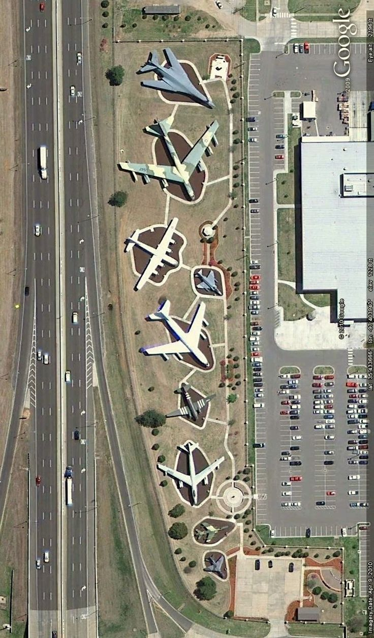 Aircraft on display along Interstate 40 in