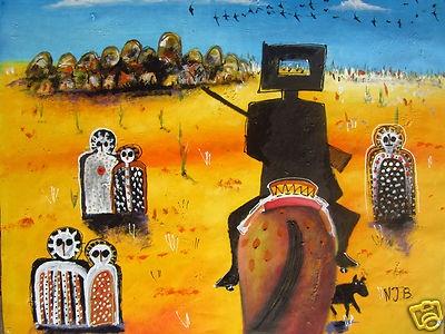 Nicholas Broughton Ned Kelly Art ABORIGINAL Painting Original Oil Canvas Artwork | eBay