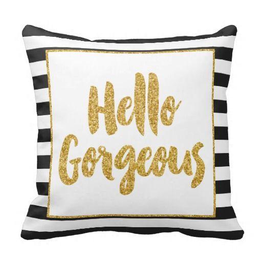 hello gorgeous black u0026 white gold glitter stripes throw pillow
