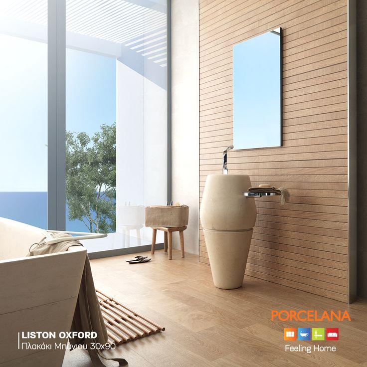 Διακοσμήστε το χώρο του μπάνιου σας με #natural υλικά, γήινα χρώματα, #exotic στοιχεία & τα πλακάκια τύπου ξύλου «Liston Oxford» του Ισπανικού οίκου PORCELANOSA, για να πετύχετε το απόλυτο #Spa #Style! #feelinghome @ Porcelana