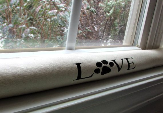 Personalized door draft stopper dog paw love print 5 for Door wind stopper