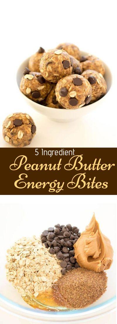 5 Ingredient Peanut Butter Energy Bites #meal #snack #desserts