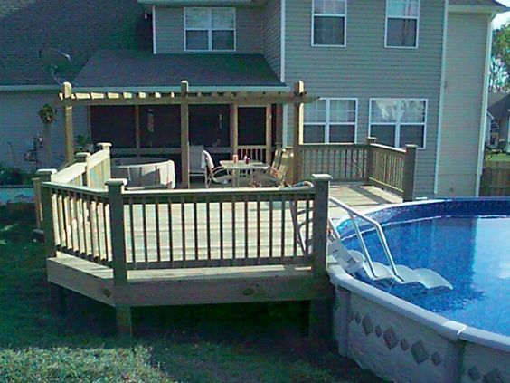 Swiming Pools Decks For Above Ground Swimming Pools With Wooden Fence Also Hand Rails And In Ground Steps Besides Stainless Outdoor Table Metal Patio Chair Wooden Deck Flooring Above Ground Pool Above Ground Pool Deck Ideas