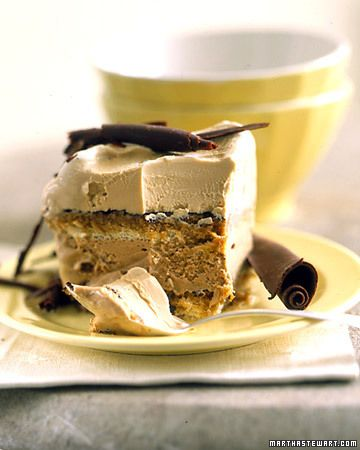 Tiramisu Ice Cream Cake:   The name of the traditional Italian cake dessert, tiramisu, means pick-me-up; and the coffee that infuses this frozen version ensures just that.