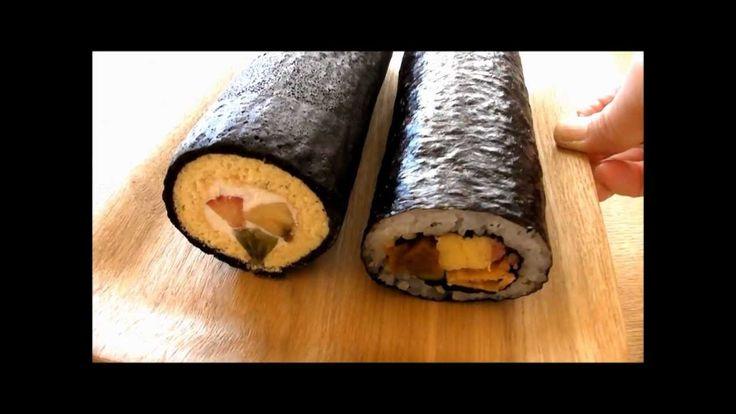 Trick Recipes: Eho Maki Sushi Swiss Roll Cake Setubun Norimaki 恵方巻き 巻き寿司...
